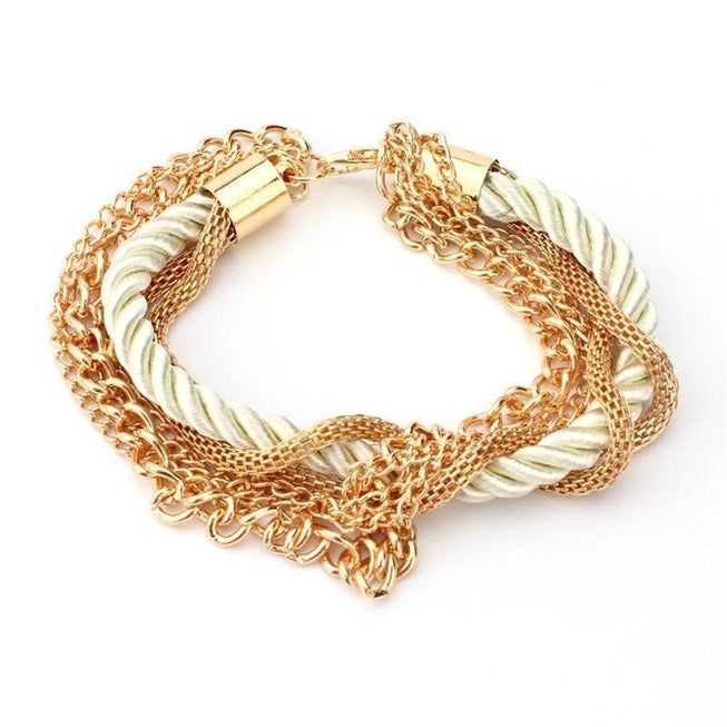 Multilayer Woven Bracelet with Retro Gold Chain Bracelet White Gold Jewellery - BKR Design