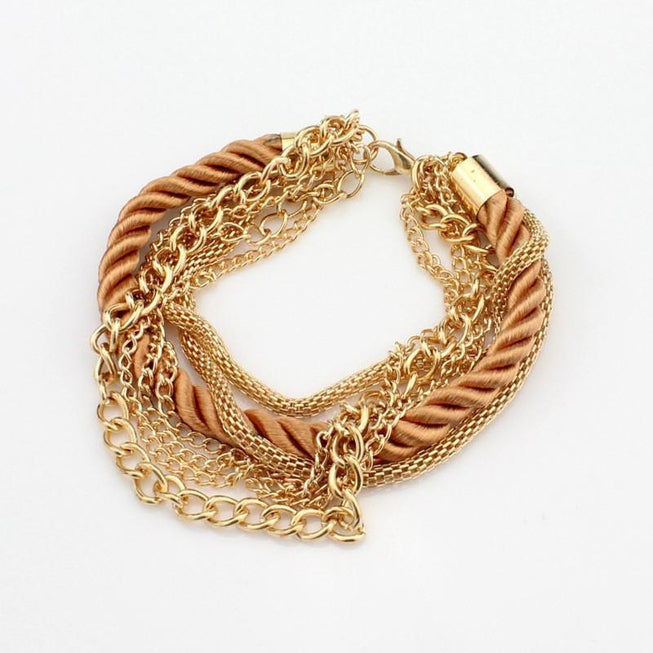 Multilayer Woven Bracelet with Retro Gold Chain Bracelet Chocolate Jewellery - BKR Design