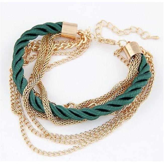 Multilayer Woven Bracelet with Retro Gold Chain Bracelet Green Jewellery - BKR Design