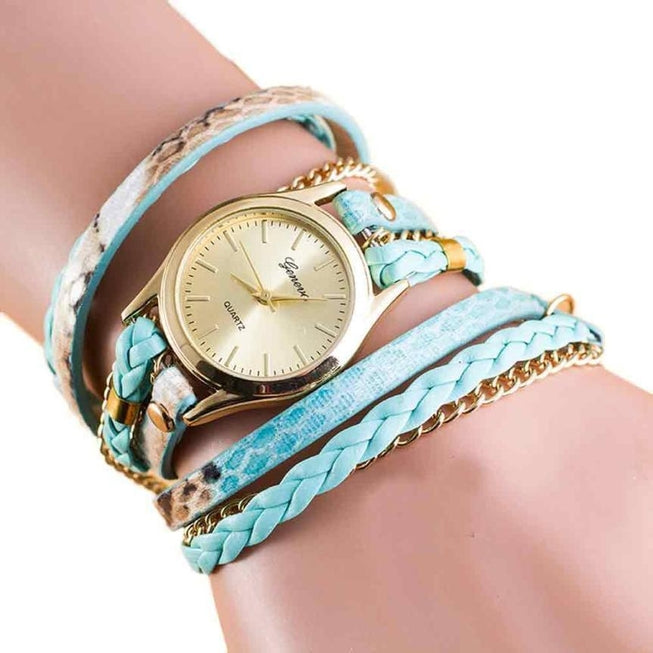 Women's Wrap Around Leather Bracelet Watch Aqua Watches - BKR Design