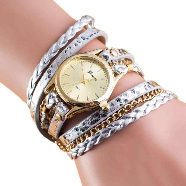 Women's Wrap Around Leather Bracelet Watch Silver & Gold Watches - BKR Design