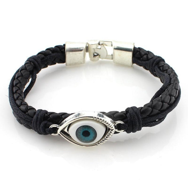 Blue Eye Leather Bracelet Jewellery - BKR Design