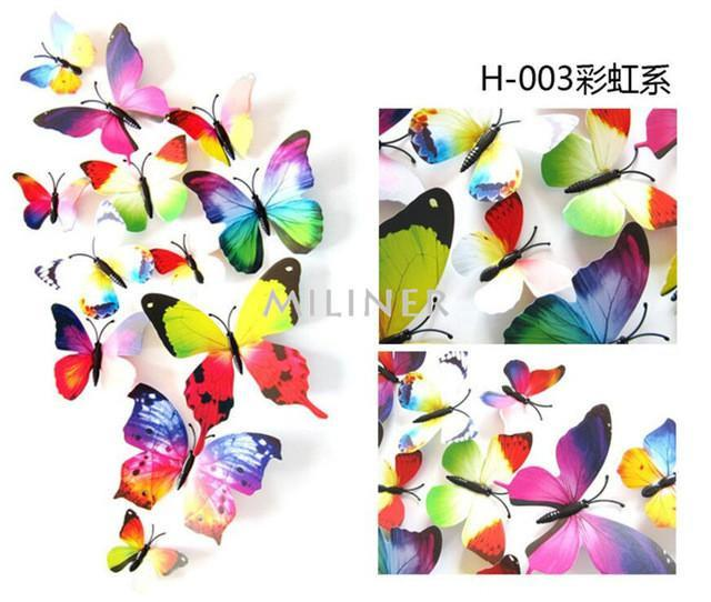Butterfly Sticker Art - 12 piece 3D Wall Decor