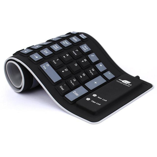 Soft Roll Up Silicon Keyboard - USB Wired for PC/Laptop/Mac Electronics - BKR Design