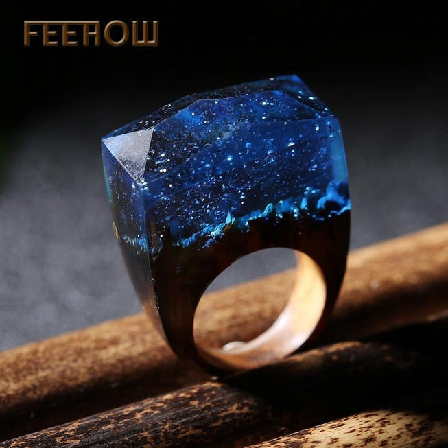SWATER 'Starry Galaxy' Wood Resin Ring