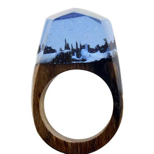 SWATER 'Magic Forest' Wood Resin Ring