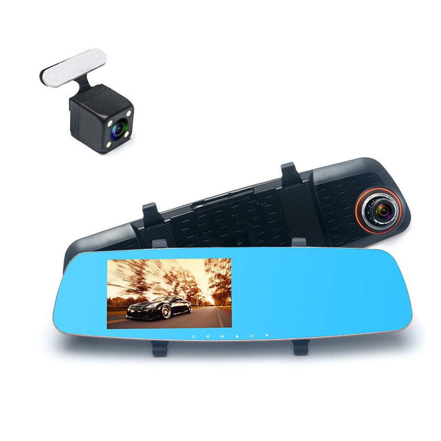 "5.0"" HD RearView Pro Dash Cam Mirror with Nightvision Dual Lens Car Accessories - BKR Design"