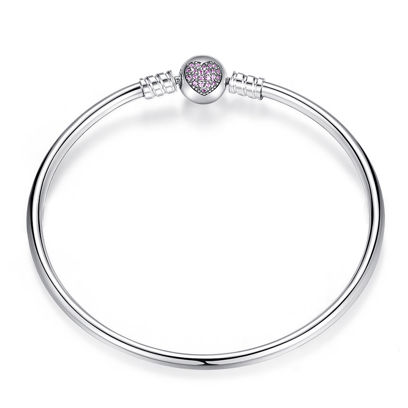 Heart Bangle, Sterling Silver, Pink CZ