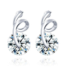 Elegant Cubic Zircon Swirl Stud Earrings