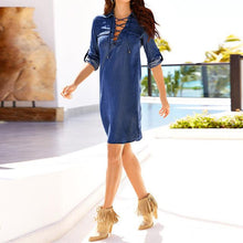 Denim Lace-Up Mini Dress