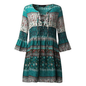 Country Girl Lace-Up Ruffled Sleeve Dress
