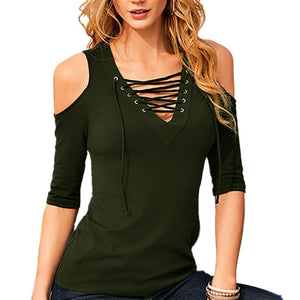 Casual Lace-Up V-Neck Blouse