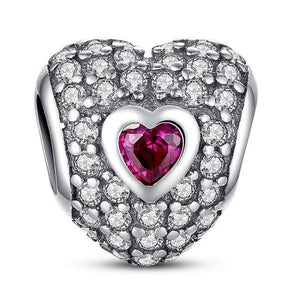 Radiant Heart, Synthetic Ruby Charm for Pandora Bracelets