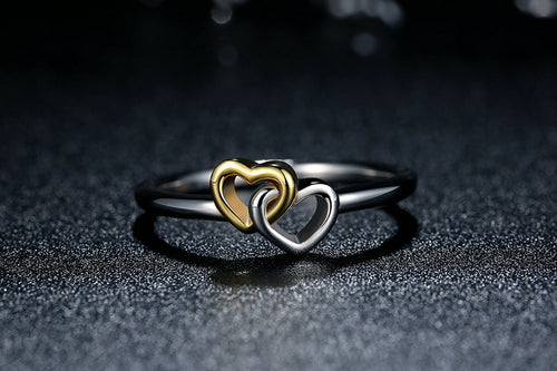 Intertwined Hearts Sterling Silver Promise Ring