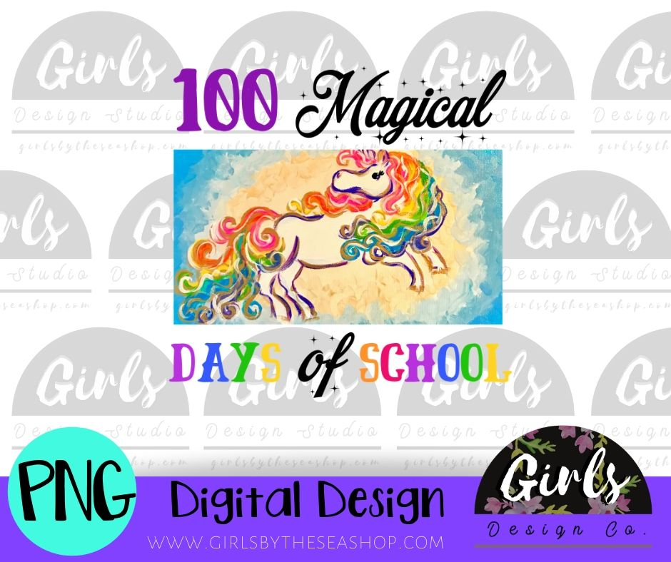 100 Magical Days of School DIGITAL FILE-desser, Digital, Digital Design, Digital File, PNG, Sublimation, SVG, Transfer-Shop-Wholesale-Womens-Boutique-Custom-Graphic-Tees-Branding-Gifts