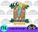 100 Days Monkeying Around DIGITAL FILE-desser, Digital, Digital Design, Digital File, PNG, Sublimation, SVG, Transfer-Shop-Wholesale-Womens-Boutique-Custom-Graphic-Tees-Branding-Gifts