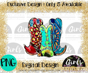 Triple Colorful Cowboy Boot :: Exclusive :: DIGITAL FILE-desser, Digital, Digital Design, Digital File, PNG, Sublimation, SVG, Transfer-Shop-Wholesale-Womens-Boutique-Custom-Graphic-Tees-Branding-Gifts