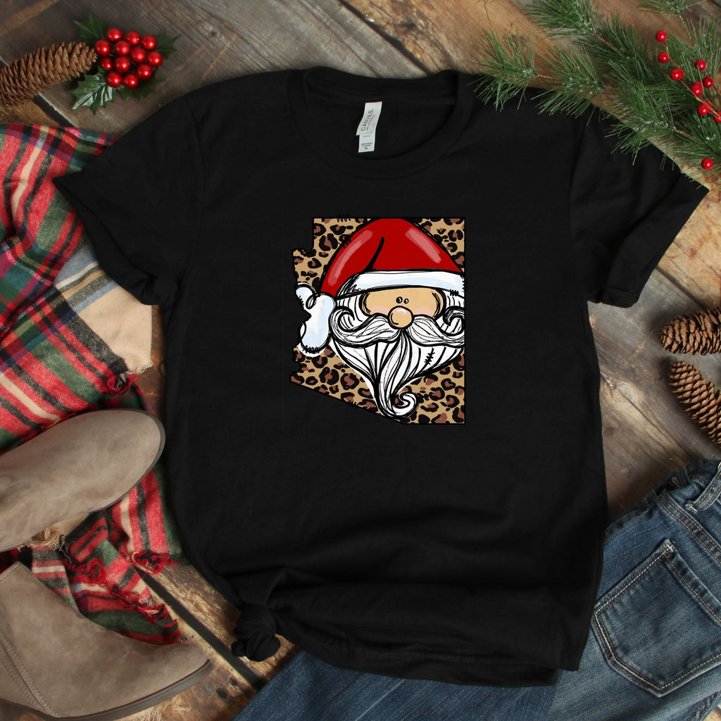 S - Arizona Cheetah Santa - Black-1102-Shop-Wholesale-Womens-Boutique-Custom-Graphic-Tees-Branding-Gifts