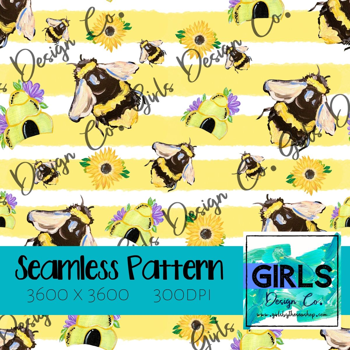 Bees & Hives Yellow Stripe SEAMLESS FILE-bee, bee kind, Bow, Digital, Digital Design, Digital File, Digital Paper, Fabric, hive, honey, Seamless, Seamlessdesign, spring, Sublimation-Shop-Wholesale-Womens-Boutique-Custom-Graphic-Tees-Branding-Gifts