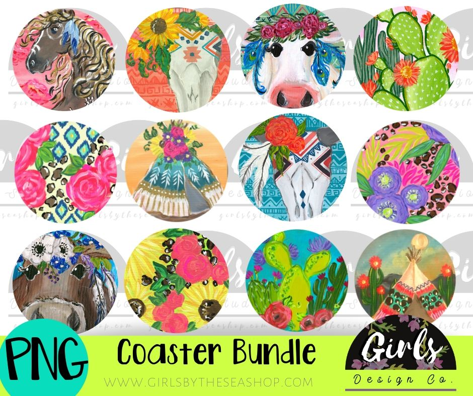 Boho Car Coaster Bundle DIGITAL FILES