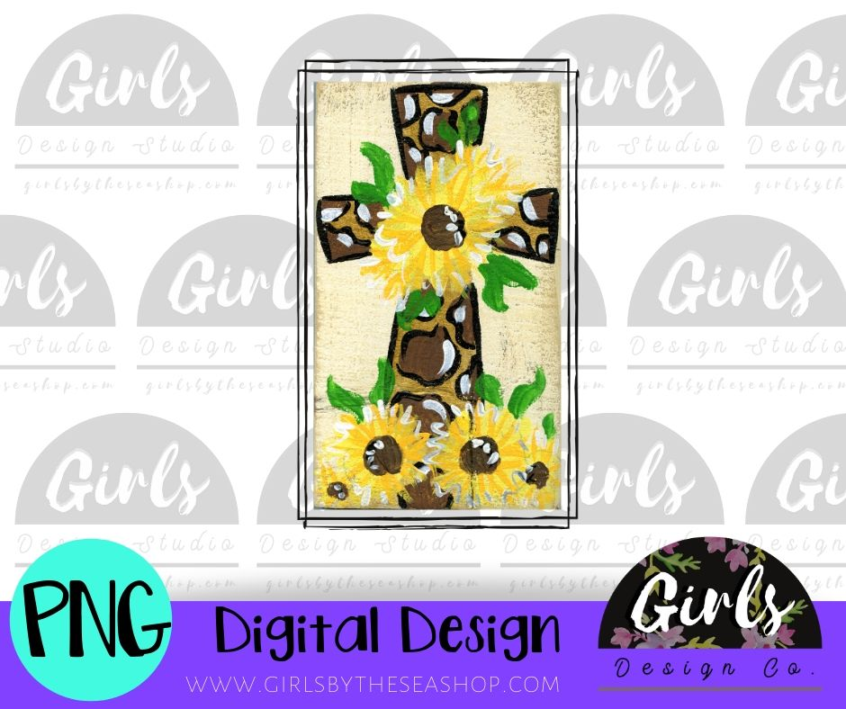 Cheetah Sunflower Cross DIGITAL FILE-Digital, Digital Design, Digital File, PNG, Sublimation, SVG, Transfer-Shop-Wholesale-Womens-Boutique-Custom-Graphic-Tees-Branding-Gifts