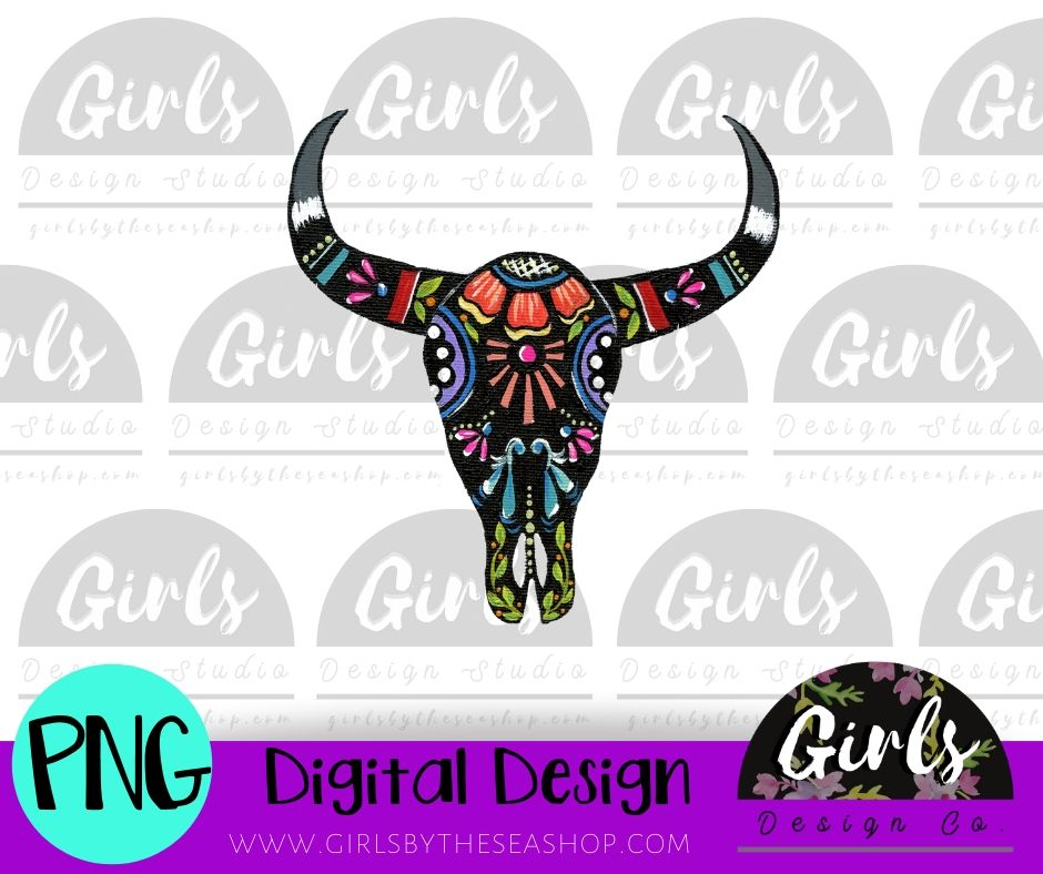 Painted Steer DIGITAL FILE-Cowboy, desser, Digital, Digital Design, Digital File, PNG, Steer, Sublimation, SVG, Transfer-Shop-Wholesale-Womens-Boutique-Custom-Graphic-Tees-Branding-Gifts