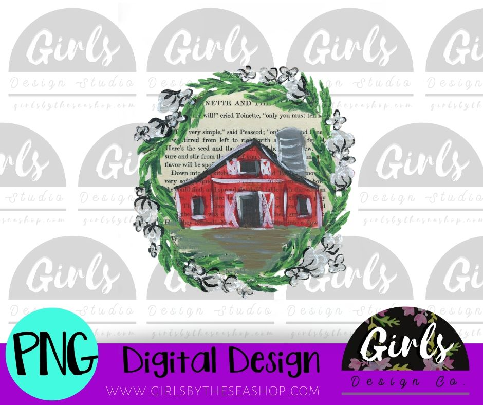 Painted Barn and Wreath DIGITAL FILE-desser, Digital, Digital Design, Digital File, FarmDesign, PNG, Sublimation, SVG, Transfer-Shop-Wholesale-Womens-Boutique-Custom-Graphic-Tees-Branding-Gifts