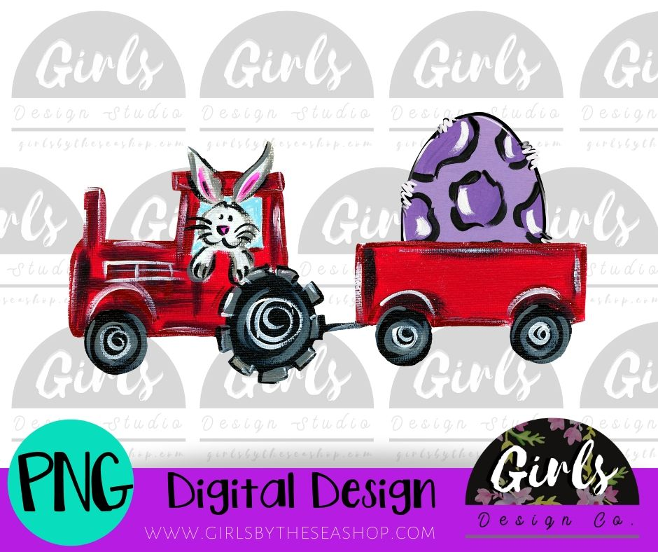 Tractor with Easter bunny DIGITAL FILE-Bunny, Digital, Digital Design, Digital File, Easter, egg, PNG, Sublimation, SVG, Tractor, Transfer-Shop-Wholesale-Womens-Boutique-Custom-Graphic-Tees-Branding-Gifts