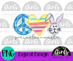 Peace Love Easter DIGITAL FILE-Bunny, Digital, Digital Design, Digital File, Easter, Easter Bunny, Love, Peace, Peace Love Easter, PNG, Sublimation, SVG, Transfer-Shop-Wholesale-Womens-Boutique-Custom-Graphic-Tees-Branding-Gifts