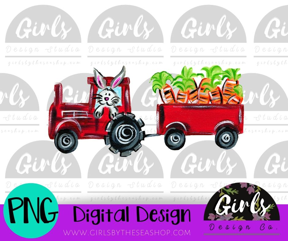 Carrot Tractor ~ DIGITAL FILE-Carrot Tractor, Carrots, Digital, Digital Design, Digital File, Easter Bunny, Farm Design, PNG, Sublimation, SVG, Tractor, Transfer-Shop-Wholesale-Womens-Boutique-Custom-Graphic-Tees-Branding-Gifts