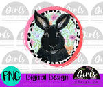 Black Bunny ~ DIGITAL FILE-Black Bunny, Bunny, Cheetah, Design, Digital, Digital Design, Digital File, Easter, Floral, Lamb, Leopard Print, PNG, Sublimation, SVG, Transfer-Shop-Wholesale-Womens-Boutique-Custom-Graphic-Tees-Branding-Gifts
