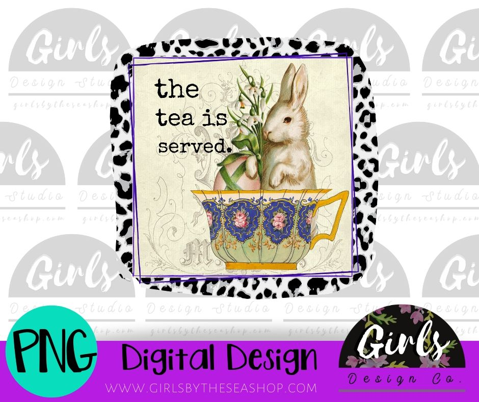 The Tea Is Served Cheetah DIGITAL FILE-Bunny, Cheetah, Digital, Digital Design, Digital File, Easter, Easter Bunny, PNG, Sublimation, SVG, Tea Cup, The Tea Is Served, Transfer-Shop-Wholesale-Womens-Boutique-Custom-Graphic-Tees-Branding-Gifts