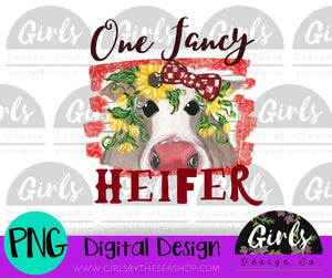 One Fancy Heifer ~ DIGITAL FILE-Cow, Cow Design, Cow With Bow, Design, Digital, Digital Design, Digital File, Fancy, Fancy Heifer, farmdesign, Heifer, One Fancy Heifer, PNG, Sublimation, Sunflower, SVG, Transfer-Shop-Wholesale-Womens-Boutique-Custom-Graphic-Tees-Branding-Gifts
