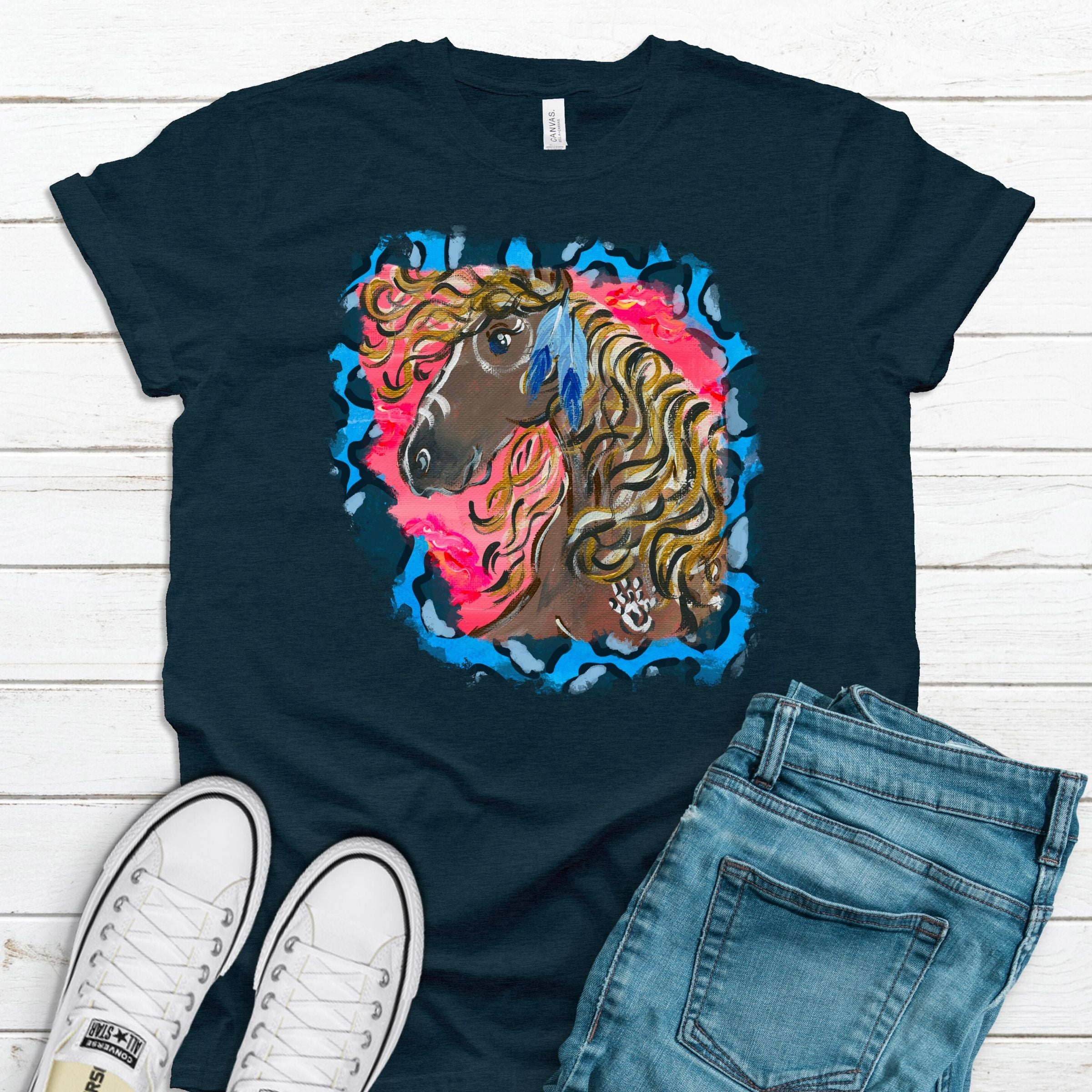Wild Horse Blue Cheetah ~ Heather Navy ~ Adult T-Shirt-Boho, cheetah, DTG, gypsy, Heather Navy, hippie, Horse, native, western-Shop-Wholesale-Womens-Boutique-Custom-Graphic-Tees-Branding-Gifts