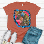 Wild Horse Blue Cheetah ~ Heather Red ~ Adult T-Shirt-Boho, cheetah, DTG, gypsy, Heather Red, hippie, Horse, native, western-Shop-Wholesale-Womens-Boutique-Custom-Graphic-Tees-Branding-Gifts