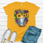 Sunflower Skull ~ Rust on Gold ~ Adult T-Shirt-Boho, Boho Skull, DTG, Floral Skull, Gold, gypsy, hippie, native, Sunflower, Sunflower Skull, western-Shop-Wholesale-Womens-Boutique-Custom-Graphic-Tees-Branding-Gifts