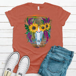Sunflower Skull ~ Rust on Heather Red ~ Adult T-Shirt-Boho, Boho Skull, DTG, Floral Skull, gypsy, Heather Red, hippie, native, Sunflower, Sunflower Skull, western-Shop-Wholesale-Womens-Boutique-Custom-Graphic-Tees-Branding-Gifts