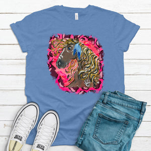 Wild Horse Hot Pink Cheetah ~ Heather Columbia Blue ~ Adult T-Shirt
