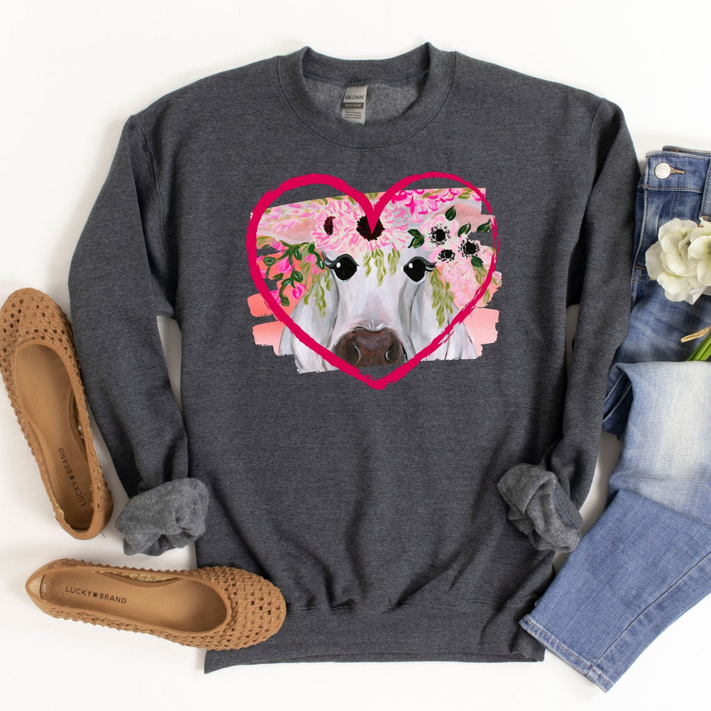 WHOLESALE :: Heart Cow ~ Dark Grey ~ Adult Sweater-1217-Shop-Wholesale-Womens-Boutique-Custom-Graphic-Tees-Branding-Gifts