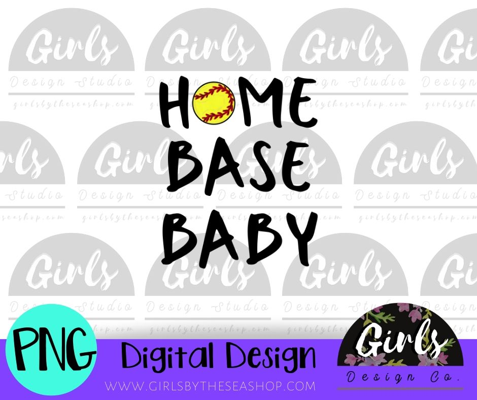 Home Base Baby Softball DIGITAL FILE-desser, Digital, Digital Design, Digital File, PNG, Sublimation, SVG, Transfer-Shop-Wholesale-Womens-Boutique-Custom-Graphic-Tees-Branding-Gifts