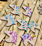 F.P. Unicorn Hand Painted Christmas Ornament-Shop-Wholesale-Womens-Boutique-Custom-Graphic-Tees-Branding-Gifts