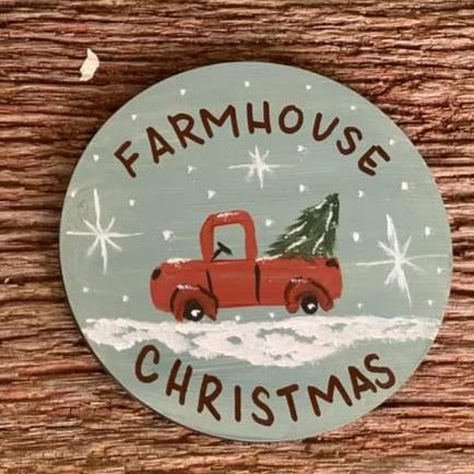F.P. Farmhouse Christmas Hand Painted Christmas Ornament-Shop-Wholesale-Womens-Boutique-Custom-Graphic-Tees-Branding-Gifts