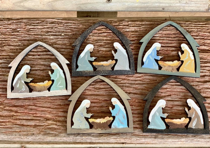 F.P. Nativity Hand Painted Christmas Ornament-Shop-Wholesale-Womens-Boutique-Custom-Graphic-Tees-Branding-Gifts