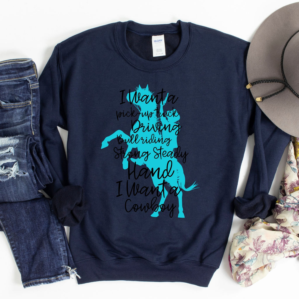 WHOLESALE :: I Want A Cowboy ~ Navy ~ Adult Sweater-1217-Shop-Wholesale-Womens-Boutique-Custom-Graphic-Tees-Branding-Gifts