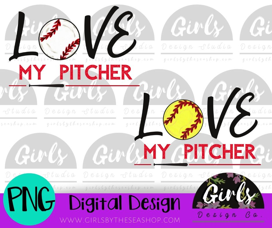 Love My Pitcher DIGITAL FILE-Baseball, Digital, Digital Design, Digital File, Outfielder, Pitcher, PNG, Softball, Sublimation, SVG, Transfer-Shop-Wholesale-Womens-Boutique-Custom-Graphic-Tees-Branding-Gifts
