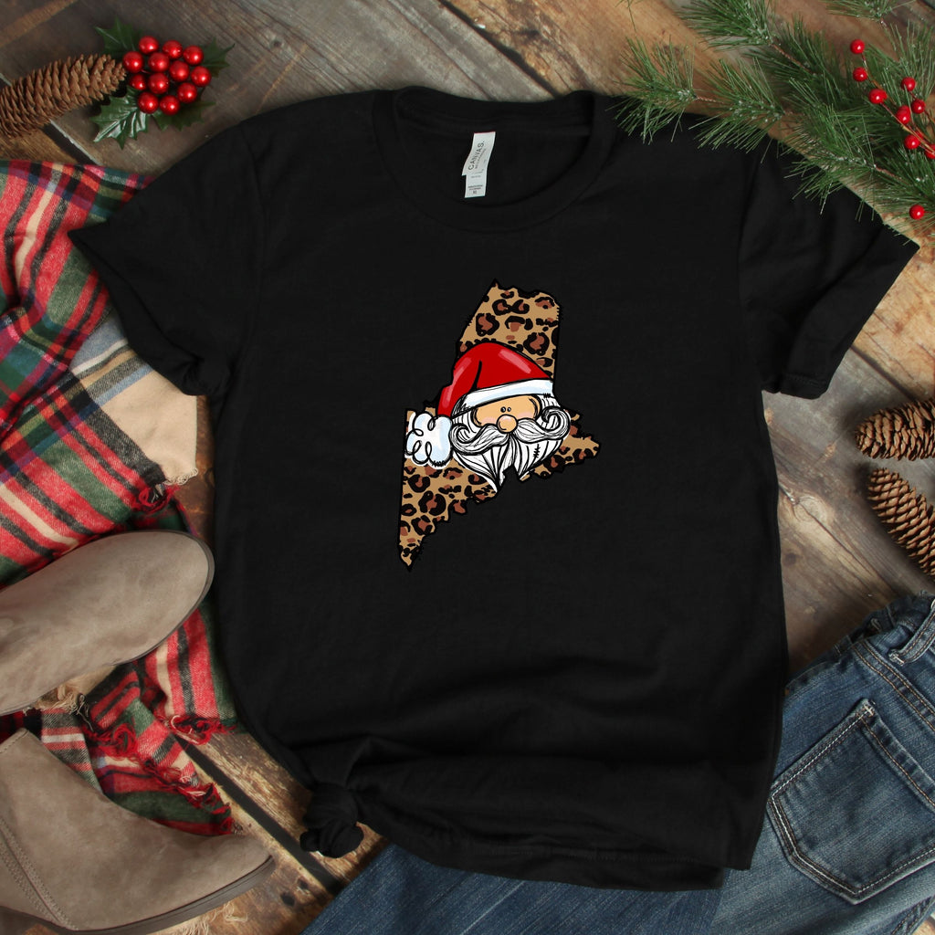 S - Maine Cheetah Santa - Black-1102-Shop-Wholesale-Womens-Boutique-Custom-Graphic-Tees-Branding-Gifts