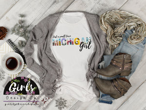 S - MICHIGAN Small Town Girl T-Shirt - Adults / Youth / Baby-Shop-Wholesale-Womens-Boutique-Custom-Graphic-Tees-Branding-Gifts