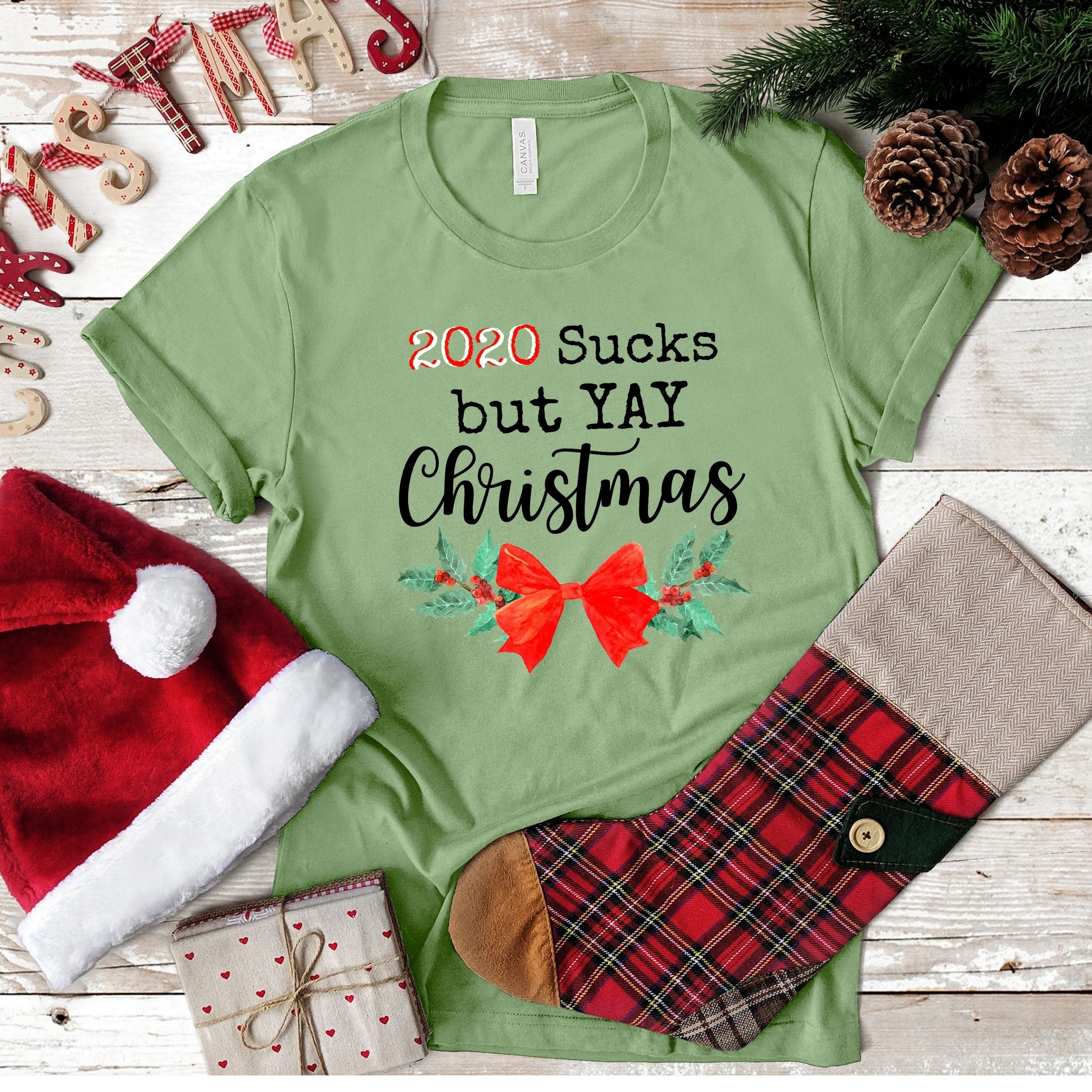 WHOLESALE :: 2020 Sucks But Yay Christmas~ Heather Green-WXmas-Shop-Wholesale-Womens-Boutique-Custom-Graphic-Tees-Branding-Gifts