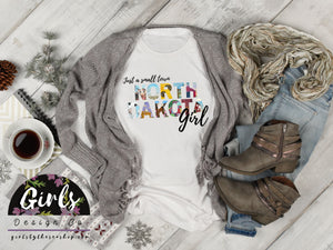 S -NORTH DAKOTA Small Town Girl T-Shirt - Adults / Youth / Baby-Shop-Wholesale-Womens-Boutique-Custom-Graphic-Tees-Branding-Gifts