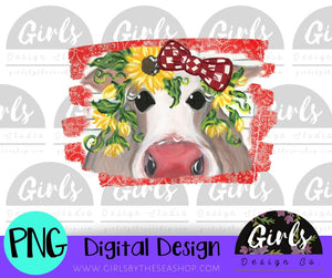 Rustic Cow on Red DIGITAL FILE-desser, Digital, Digital Design, Digital File, farmdesign, PNG, Sublimation, SVG, Transfer-Shop-Wholesale-Womens-Boutique-Custom-Graphic-Tees-Branding-Gifts